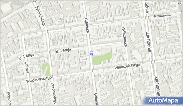 Przystanek Gdańska - 1 Maja. MPKLodz - Łódź (id 195) na mapie Targeo