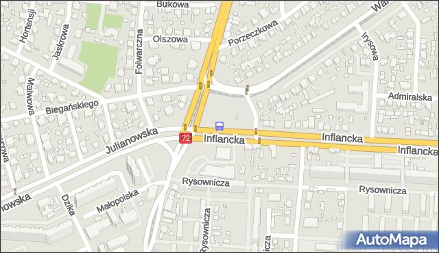 Przystanek Inflancka - r. Powstańców 1863r.. MPKLodz - Łódź (id 213) na mapie Targeo