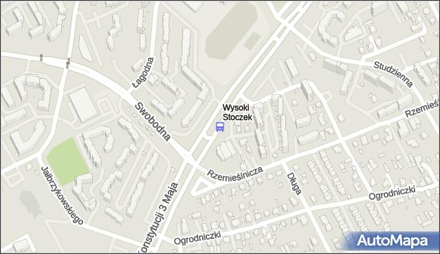 Przystanek KONSTYTUCJI 3 MAJA/RZEMIEŚLNICZA. BKM - Białystok (id 161) na mapie Targeo