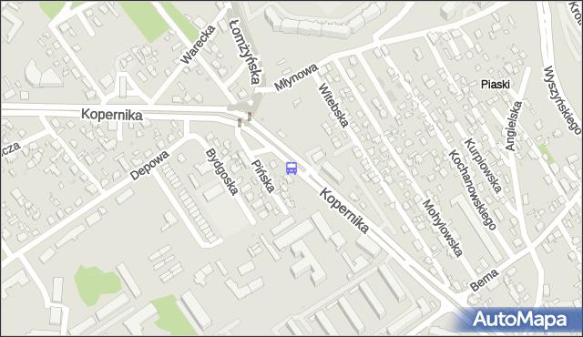 Przystanek Kopernika/Depowa. BKM - Białystok (id 172) na mapie Targeo