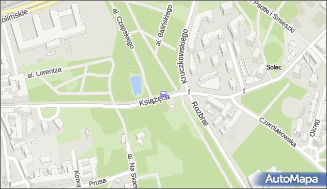 Przystanek Książęca 04. ZTM Warszawa - Warszawa (id 706904) na mapie Targeo