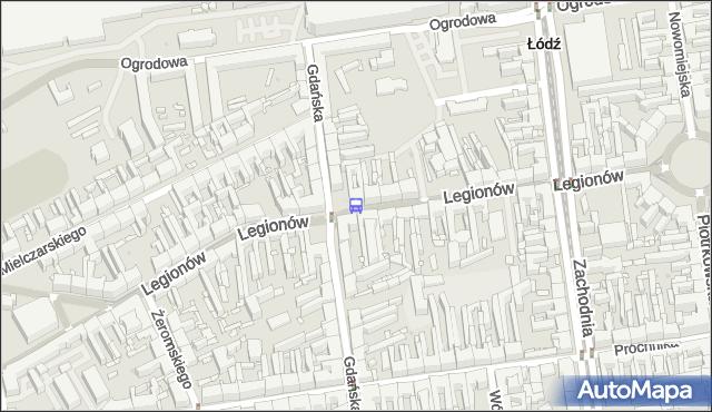 Przystanek Legionów - Gdańska. MPKLodz - Łódź (id 639) na mapie Targeo