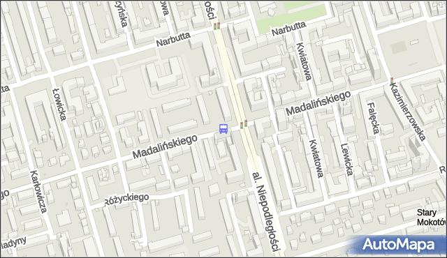 Przystanek Madalińskiego 04. ZTM Warszawa - Warszawa (id 322904) na mapie Targeo