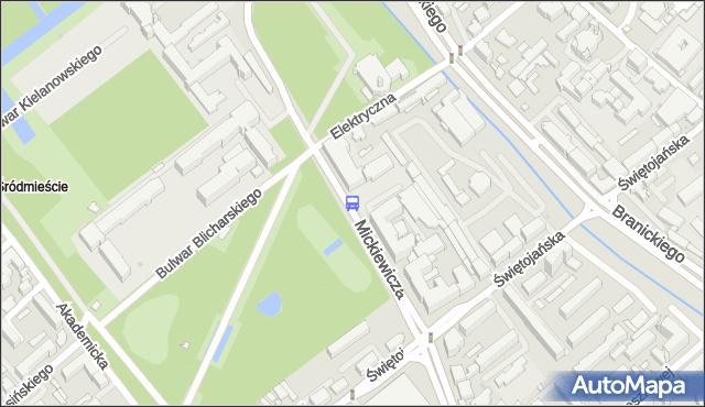 Przystanek MICKIEWICZA/URZĄD WOJEWÓDZKI. BKM - Białystok (id 245) na mapie Targeo