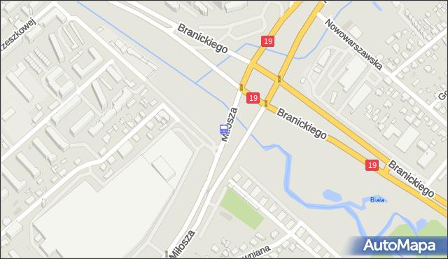 Przystanek Miłosza/Branickiego. BKM - Białystok (id 283) na mapie Targeo