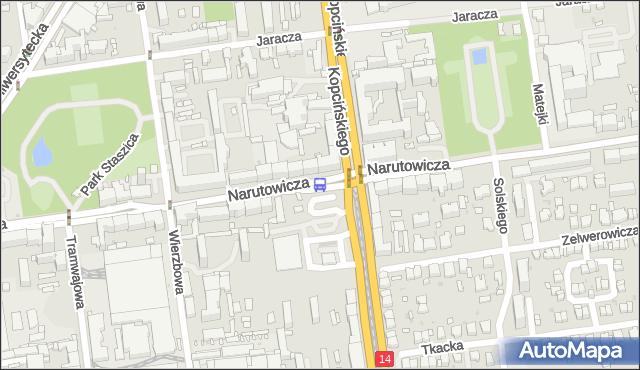 Przystanek Narutowicza - Kopcińskiego. MPKLodz - Łódź (id 588) na mapie Targeo