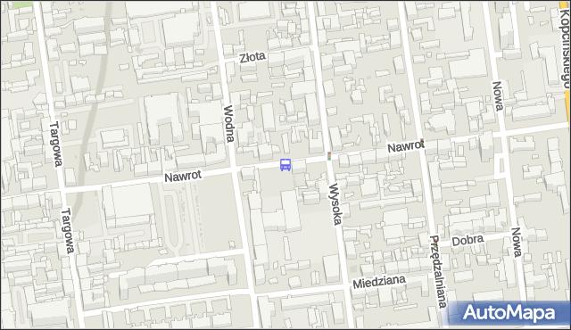 Przystanek Nawrot - Wysoka. MPKLodz - Łódź (id 608) na mapie Targeo