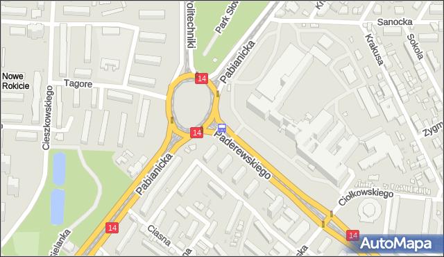 Przystanek Paderewskiego - r. Lotników Lwowskich. MPKLodz - Łódź (id 721) na mapie Targeo