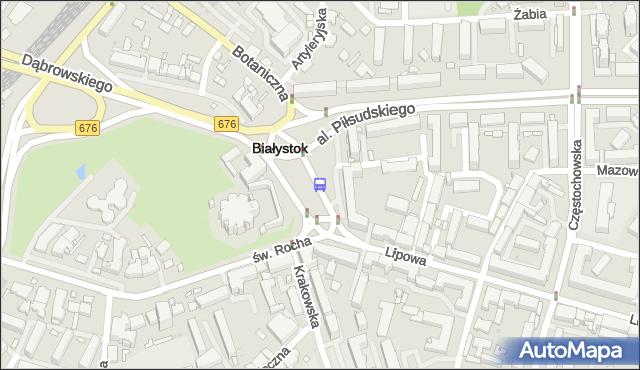 Przystanek Plac Niepodległości/Kościół św. Rocha. BKM - Białystok (id 211) na mapie Targeo