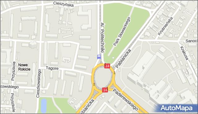 Przystanek Politechniki - r. Lotników Lwowskich. MPKLodz - Łódź (id 823) na mapie Targeo