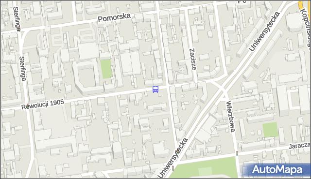Przystanek Rewolucji 1905r. - Kamińskiego NŻ. MPKLodz - Łódź (id 952) na mapie Targeo