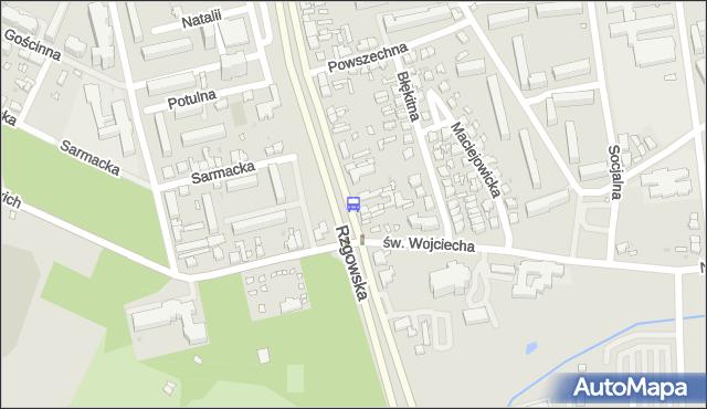 Przystanek Rzgowska - św. Wojciecha. MPKLodz - Łódź (id 999) na mapie Targeo