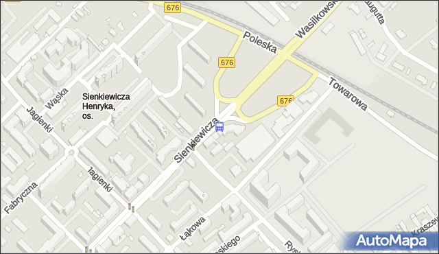 Przystanek Sienkiewicza/Ryska. BKM - Białystok (id 419) na mapie Targeo