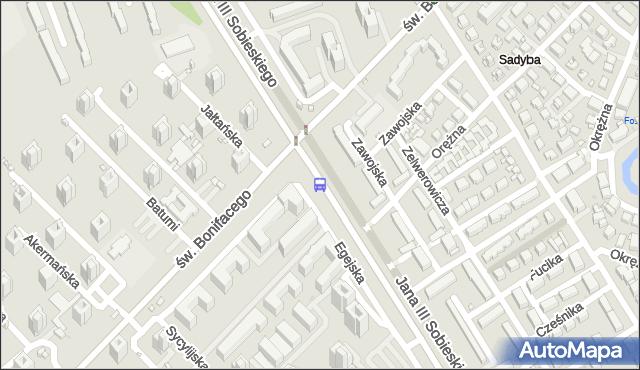 Przystanek św.Bonifacego 01. ZTM Warszawa - Warszawa (id 303301) na mapie Targeo