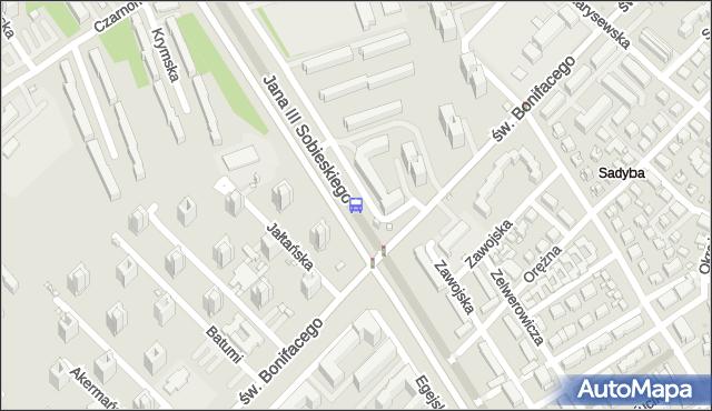 Przystanek św.Bonifacego 02. ZTM Warszawa - Warszawa (id 303302) na mapie Targeo