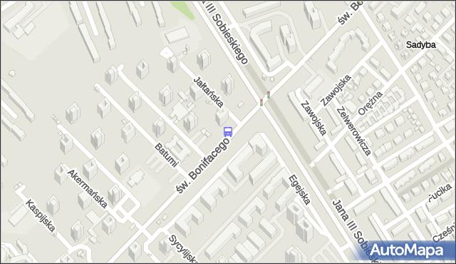 Przystanek św.Bonifacego 04. ZTM Warszawa - Warszawa (id 303304) na mapie Targeo