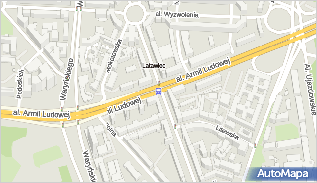 Przystanek Trasa Łazienkowska 01. ZTM Warszawa - Warszawa (id 708001) na mapie Targeo