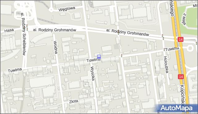 Przystanek Tuwima - Wysoka. MPKLodz - Łódź (id 1225) na mapie Targeo