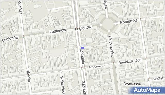 Przystanek Zachodnia - Legionów. MPKLodz - Łódź (id 1390) na mapie Targeo