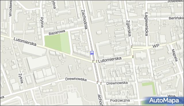 Przystanek Zachodnia - Lutomierska. MPKLodz - Łódź (id 1398) na mapie Targeo