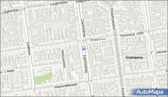 Przystanek Zachodnia - Próchnika. MPKLodz - Łódź (id 1402) na mapie Targeo