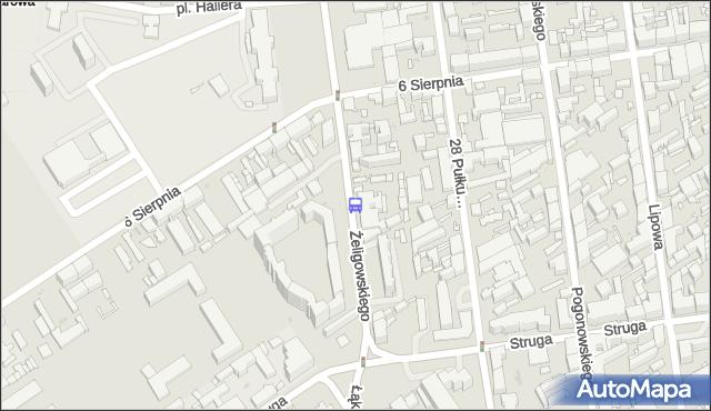Przystanek Żeligowskiego - 6 Sierpnia. MPKLodz - Łódź (id 1512) na mapie Targeo