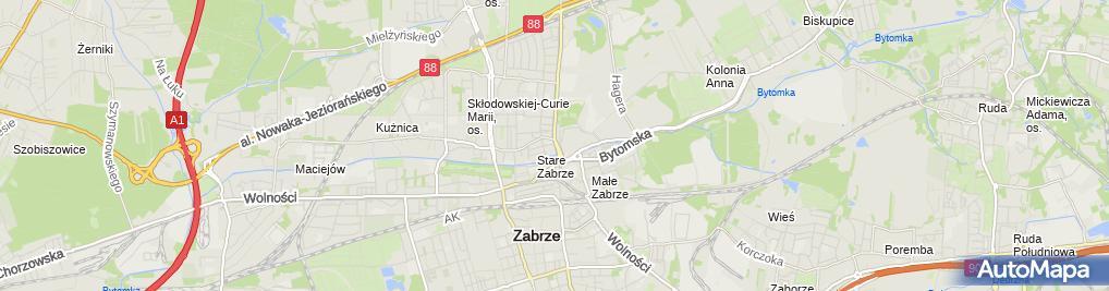 Zdjęcie satelitarne Miejska Biblioteka Publiczna im Jerzego Fusieckiego w Zabrzu