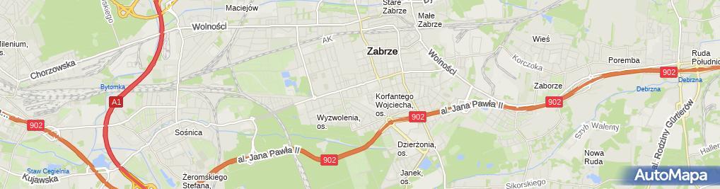 Zdjęcie satelitarne Alkam Tomasz Kamycki 41-800 Zabrze, ul.Reymonta35/4