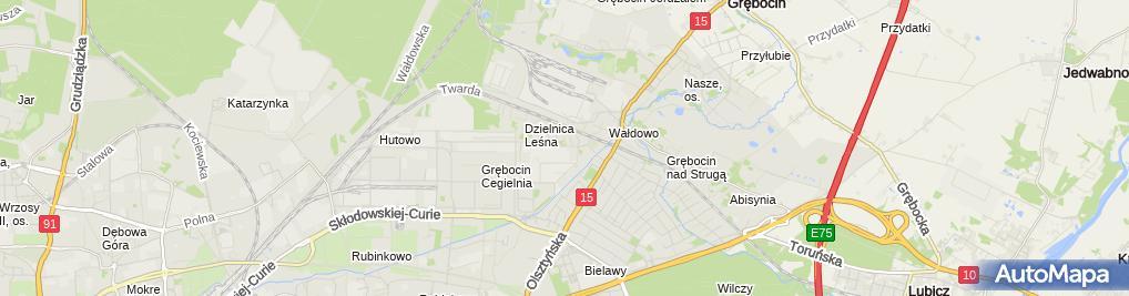 Zdjęcie satelitarne Szczepanowski Andrzej Izolacja BIS Toruńskie Przedsiębiorstwo Bu