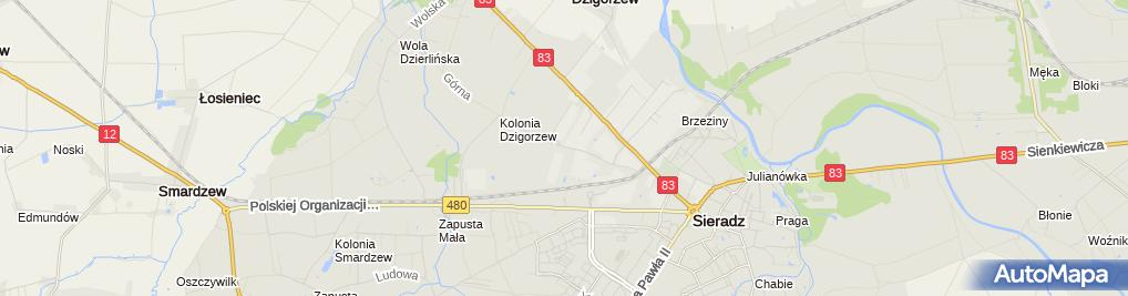Zdjęcie satelitarne Xella Polska Sp. z o.o. Zakład Ytong w Sieradzu