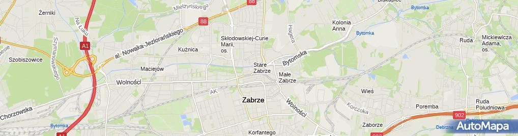 Zdjęcie satelitarne Zabrzańska Agencja Realizacji Inwestycji