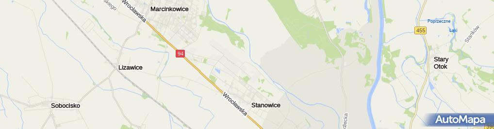 Zdjęcie satelitarne Byłe lotnisko Oława-Stanowice
