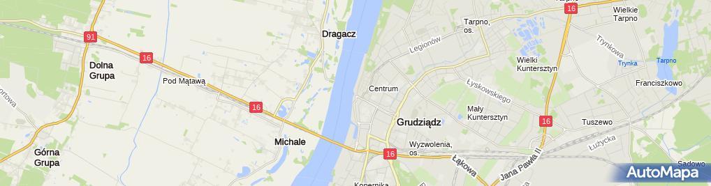Zdjęcie satelitarne 1) Mała Elektrownia Wodna Trynka Dorota Kubiak