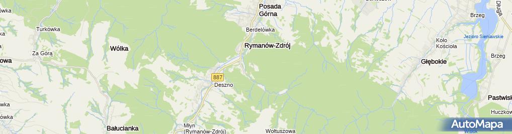 Zdjęcie satelitarne Ogólnopolski Związek Zawodowy Pielęgniarek i Położnych Zakładowa Organizacja Związkowa przy Uzdrowisku Rymanów