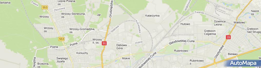Zdjęcie satelitarne ŻSiD o Toruń