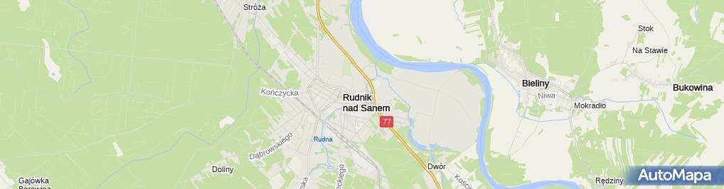 Zdjęcie satelitarne Informacja Turystyczna w Centrum Wikliniarstwa Rudnik nad Sanem