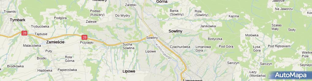 Zdjęcie satelitarne Łososina Górna (dzielnica Limanowej)