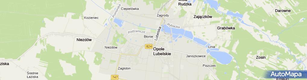 Zdjęcie satelitarne Komenda Powiatowa Policji Opolu Lubelskim