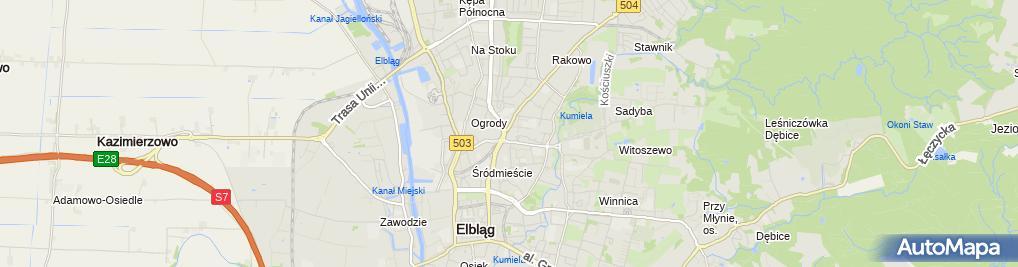 Zdjęcie satelitarne Komornik Sądowy przy Sądzie Rejonowym w Elblągu Łukasz Kowalski