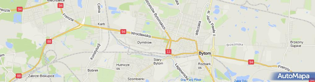Zdjęcie satelitarne Kwiaty Znicze Aneta Pająk Cwojdzińska 41 902 Bytom ul Piekarska 104