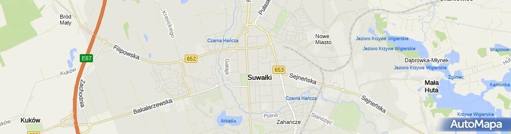 Zdjęcie satelitarne III Liceum Ogólnokształcące Z Oddziałami Dwujęzycznymi Im. Alfreda Lityńskiego W Suwałkach