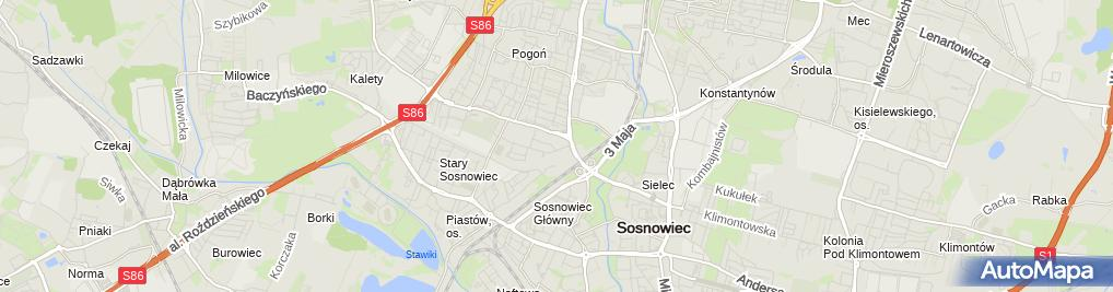 Zdjęcie satelitarne IV Liceum Ogólnokształcące Z Oddziałami Dwujęzycznymi Im. Stanisława Staszica W Sosnowcu