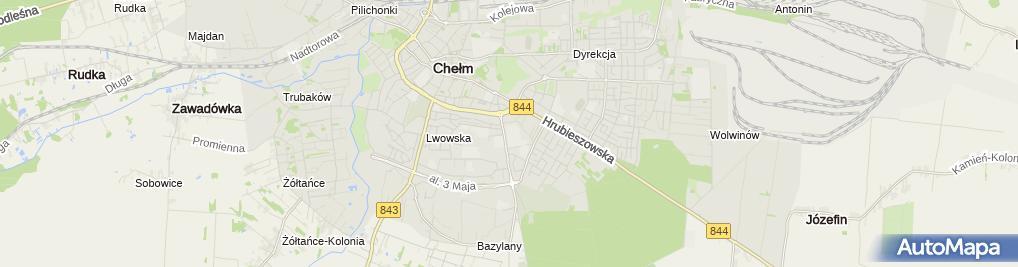 Zdjęcie satelitarne Niepubliczne Liceum Ogólnokształcące Z Oddziałami Integracyjnymi W Chełmie