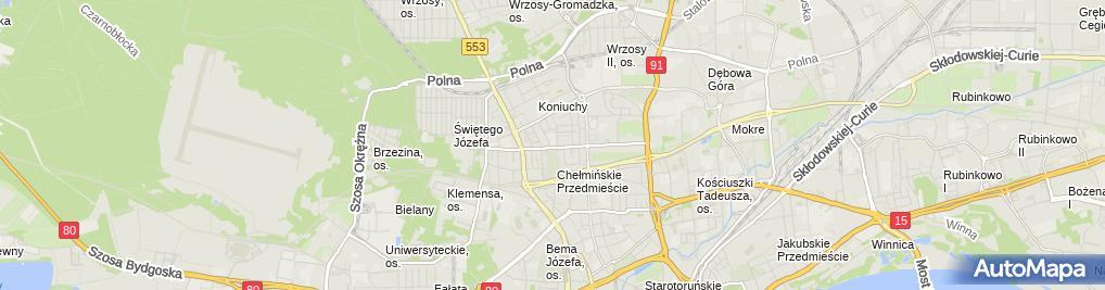 Zdjęcie satelitarne Prywatne Liceum Ogólnokształcące Dla Dorosłych W Toruniu