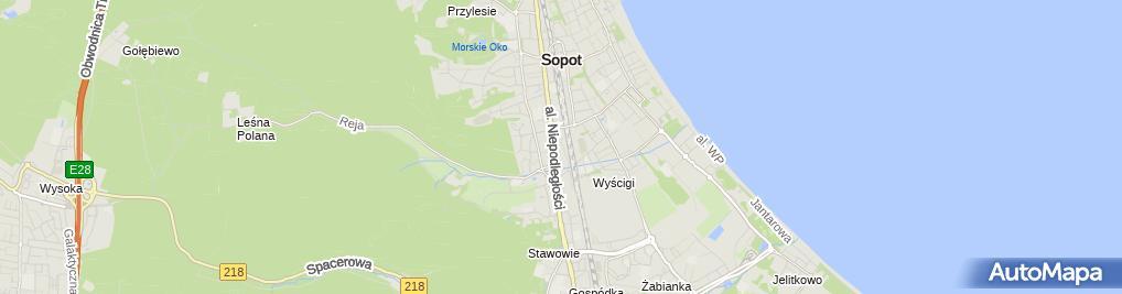 Zdjęcie satelitarne Sopocka Akademia Tenisowa Prywatne Liceum Ogólnokształcące