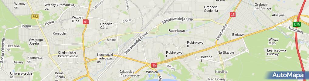 Zdjęcie satelitarne S4 Toruń-Rydygiera