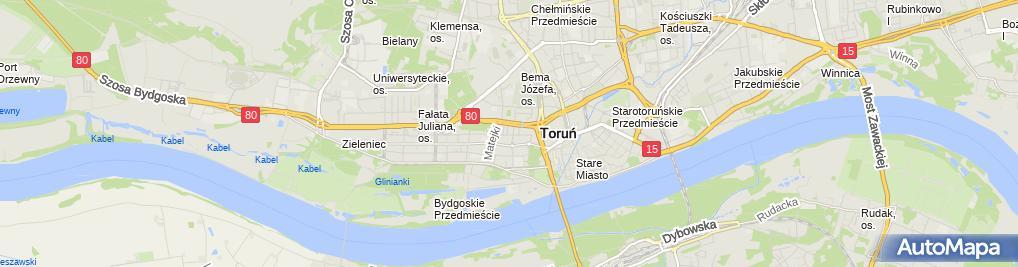 Zdjęcie satelitarne Polska Akcja Humanitarna Biuro w Toruniu