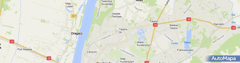 Zdjęcie satelitarne Tarpno-Pętla