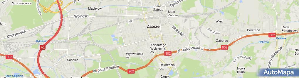 Zdjęcie satelitarne Wydział Organizacji i Zarządzania Politechniki Śląskie