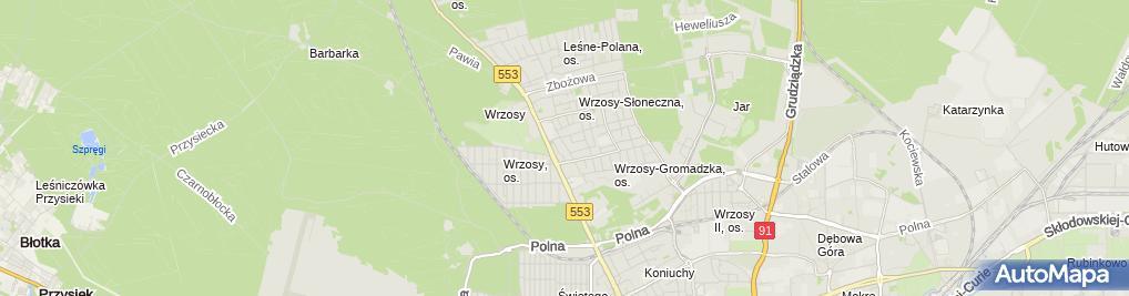 Zdjęcie satelitarne A Gnosis B Coworking Club Mikołajczyk Kant Barbara